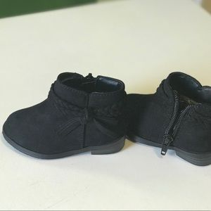 Garanimals Infant Boots Black Braided Tie Zipper Sizes 3 and 5 NWT